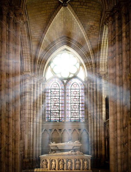 Aziz katedral güneş rays eski vitray Stok fotoğraf © kyolshin