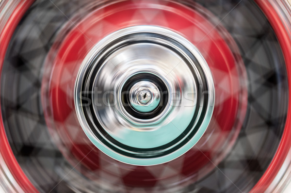 Car's wheel rotating fast with blur. Stock photo © kyolshin