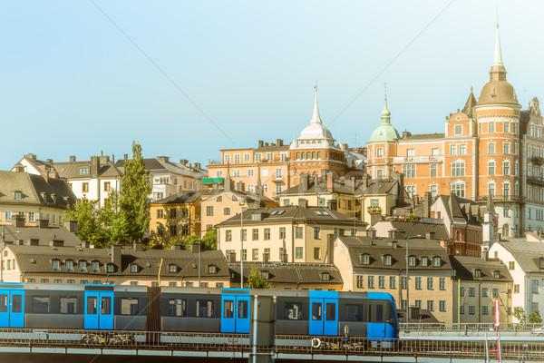 Vonat építészet Stockholm Svédország Európa metró Stock fotó © kyolshin