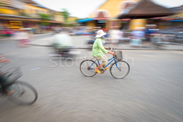 Foto stock: Pessoa · equitação · azul · bicicleta · Vietnã · Ásia