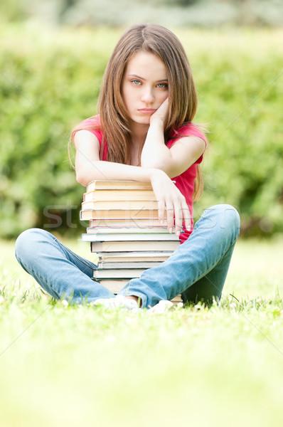 Stock fotó: Szomorú · diák · lány · ül · köteg · könyvek