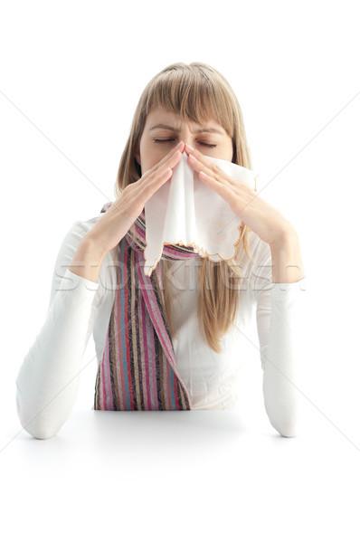 Malade femme jeune femme isolé blanche froid Photo stock © kyolshin