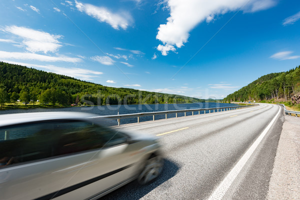 Car on road in Norway, Europe. Sunny day. Stock photo © kyolshin