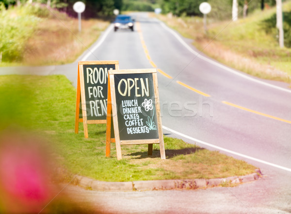 Room for rent road sign in Norway Stock photo © kyolshin