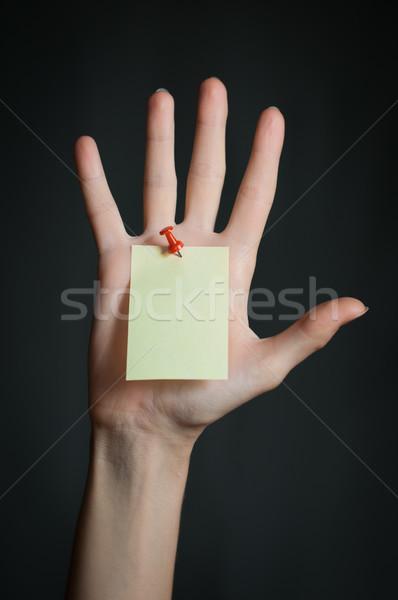 female hand with blank note Stock photo © kyolshin