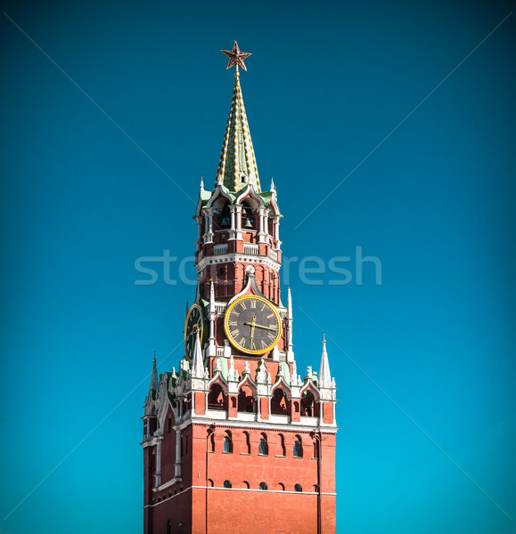 Tour Moscou Kremlin Russie horloge rouge Photo stock © kyolshin