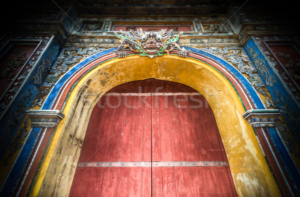 Closed citadel gates to Hue city in Vietnam, Asia. Stock photo © kyolshin