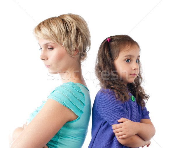 sad mother and daughter back to back Stock photo © kyolshin