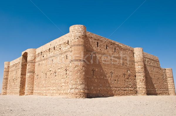 Antica castello deserto cielo blu Giordania costruzione Foto d'archivio © kyolshin
