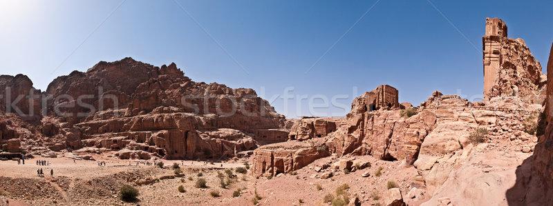 Panorama şehir kırmızı gül dağ kaya taş Stok fotoğraf © kyolshin