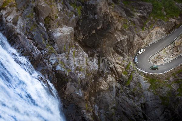 Berg weg Noorwegen Europa brug rivier Stockfoto © kyolshin