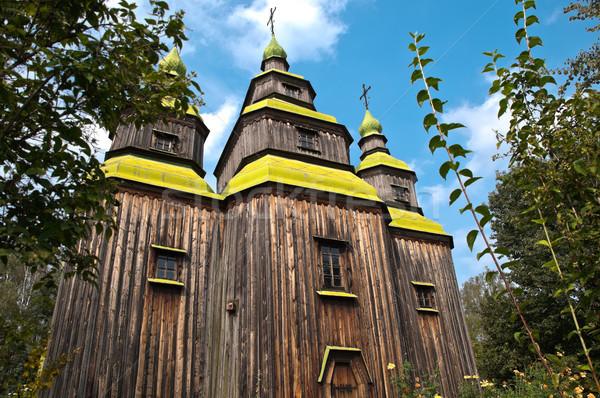 Vieux église forêt belle bois bleu Photo stock © kyolshin