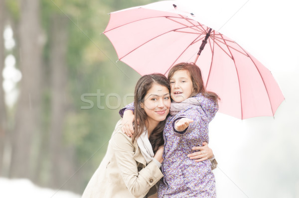 Happy mother and daughter in park in rain. Stock photo © kyolshin