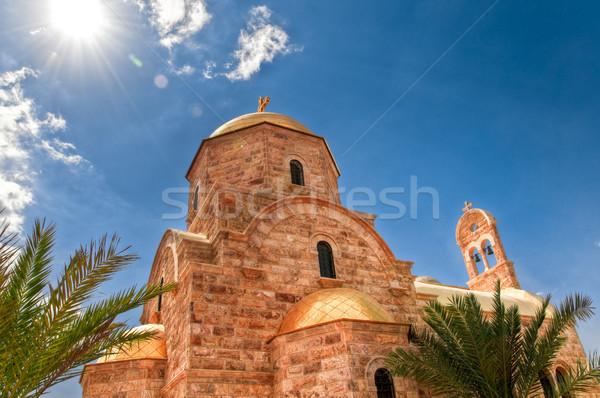 Ortodoxo igreja moderno Jordânia rio sol Foto stock © kyolshin