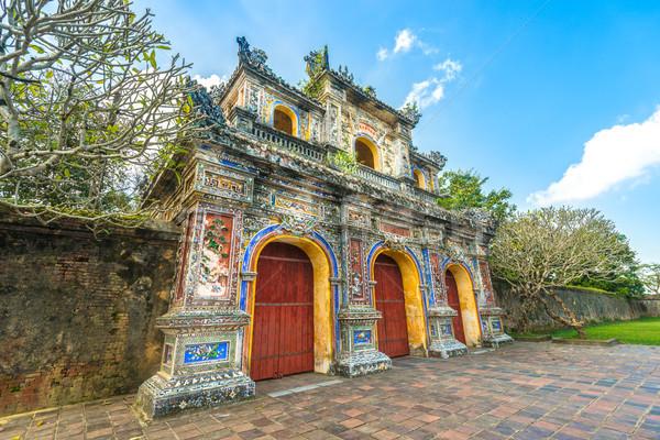 Stock fotó: Gyönyörű · kapu · citadella · Vietnam · Ázsia · homlokzat