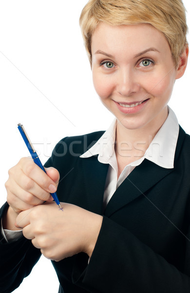 young business woman making reminder Stock photo © kyolshin