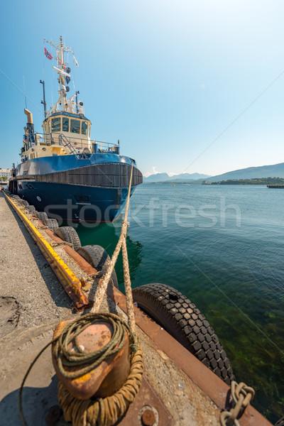 Hajó kikötő Norvégia Európa halászhajók előtér Stock fotó © kyolshin