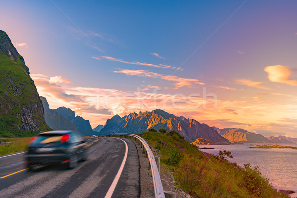 Car on road in Norway, Europe. Sunset travel Stock photo © kyolshin