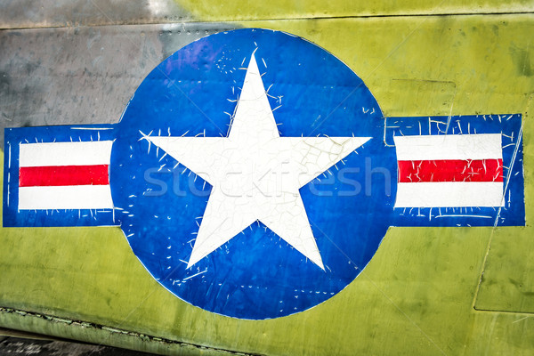 Military plane with star and stripe sign. Stock photo © kyolshin