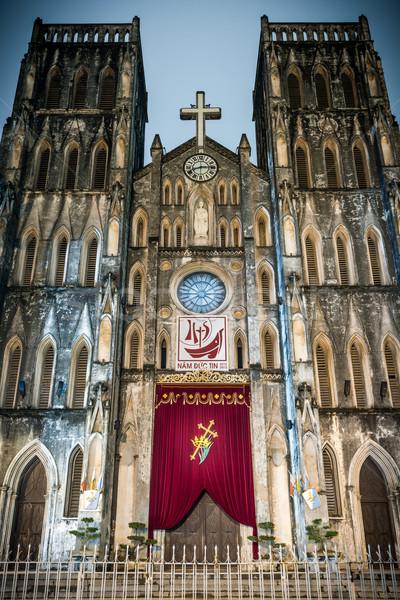 Fachada catedral Vietnã alto edifício Foto stock © kyolshin