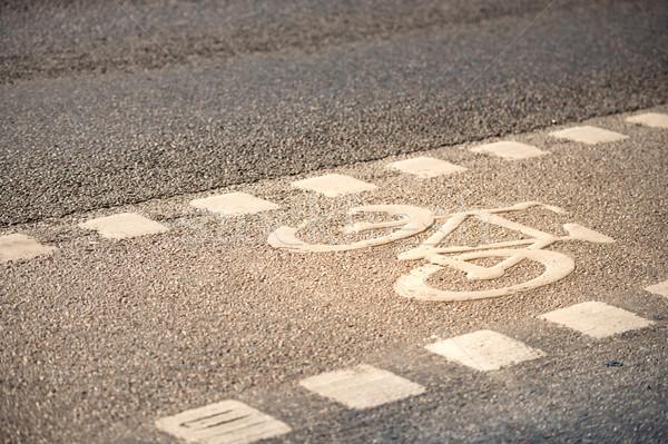 Bicycle lane symbol on the ground. Stock photo © kyolshin