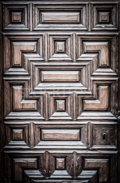 Old wooden door with carved geometric pattern. Stock photo © kyolshin