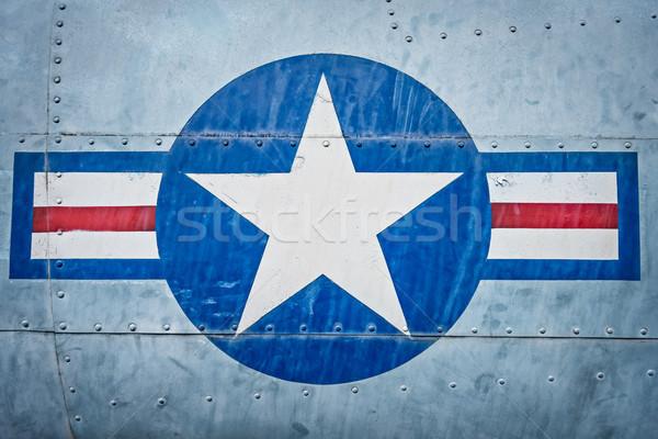Militar avião estrela tira assinar avião Foto stock © kyolshin
