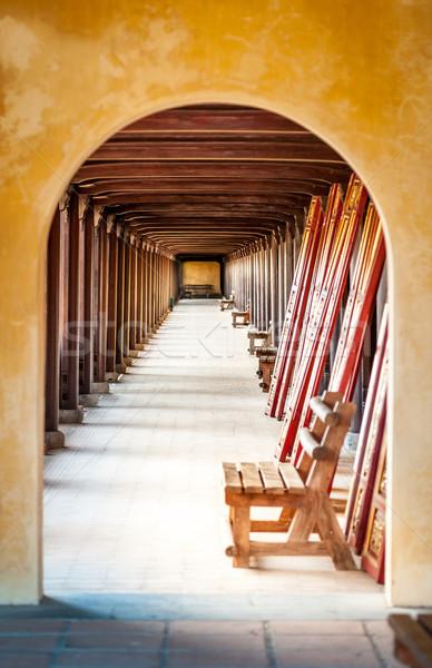 Arched hall of Hue citadel, Vietnam, Asia. Stock photo © kyolshin