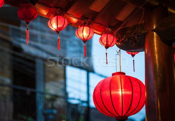 Traditional vietnamese lanterns outside. Stock photo © kyolshin