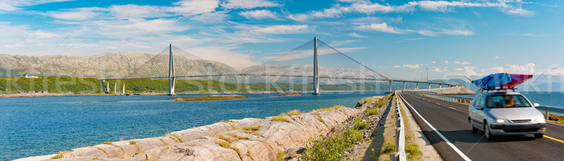 Car on bridge road in Norway, Europe Stock photo © kyolshin