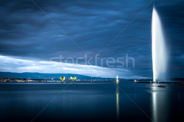 Famous fountain in Geneva. Stock photo © kyolshin