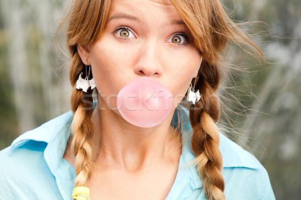 Belo jovem estudante menina bolha Foto stock © kyolshin