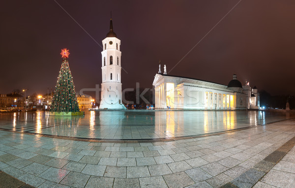 Vilnius cathedral at christmas night. Lithuania, Europe. Stock photo © kyolshin