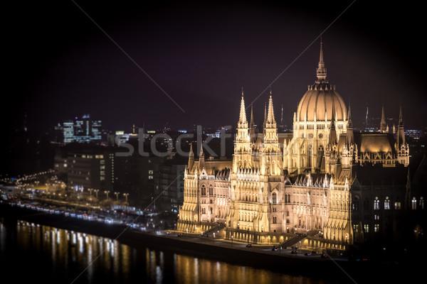 Parlement bâtiment Budapest Hongrie Europe nuit Photo stock © kyolshin