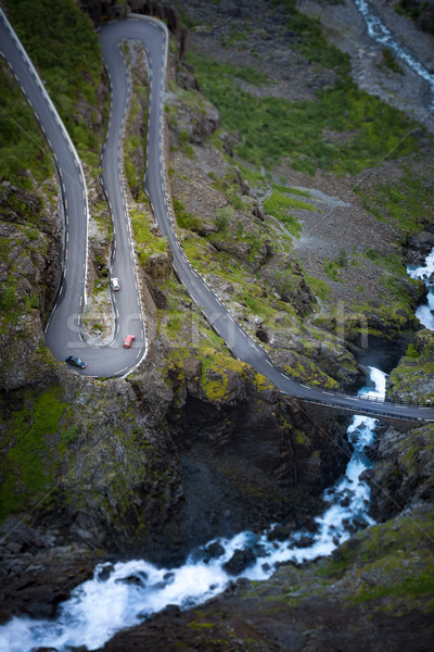 Montagna strada Norvegia Europa ponte fiume Foto d'archivio © kyolshin