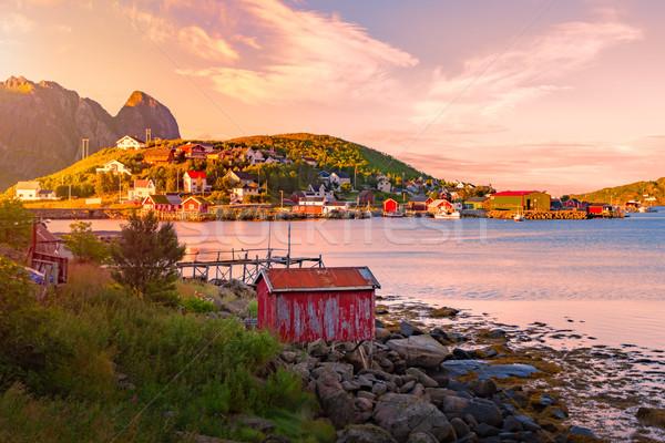 Köy Norveç Avrupa geleneksel kırmızı Stok fotoğraf © kyolshin