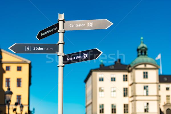 Felirat Stockholm Svédország előtér óváros építészet Stock fotó © kyolshin