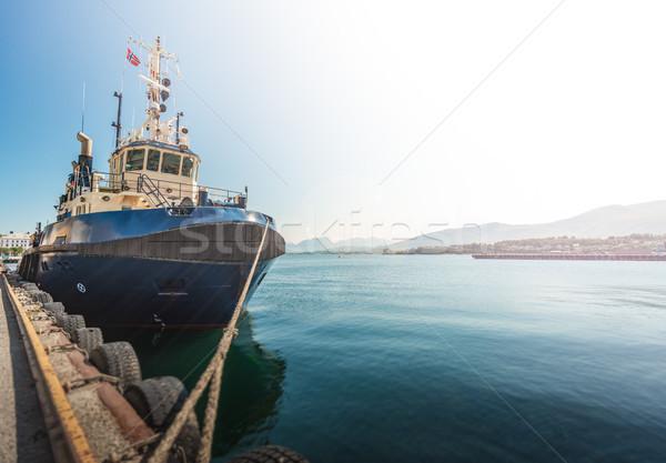 Gemi liman Norveç Avrupa ön plan Stok fotoğraf © kyolshin