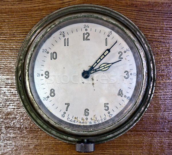 öreg fal óra szovjet analóg idő Stock fotó © kyolshin