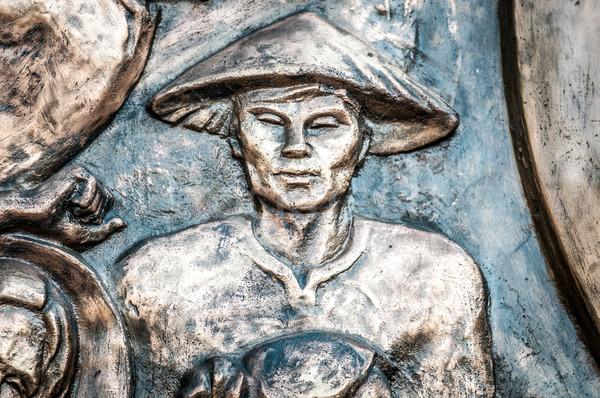 Adam şapka Vietnam Asya bronz Asya Stok fotoğraf © kyolshin