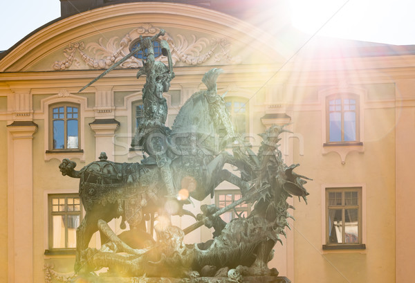 Statue of St. George and Dragon in Stockholm Stock photo © kyolshin