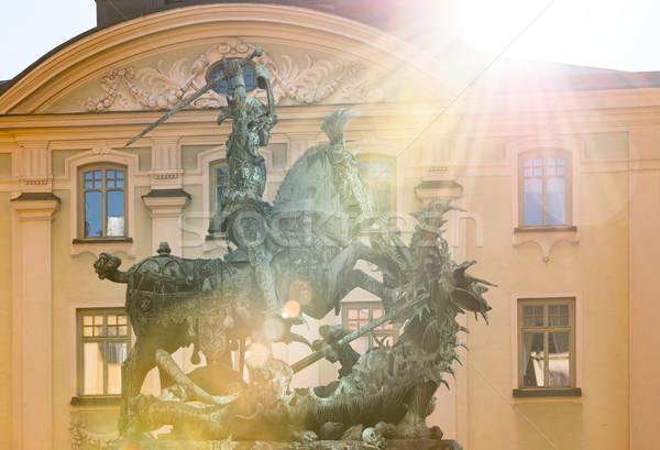 Foto d'archivio: Statua · Dragon · Stoccolma · città · vecchia · sole · fotocamera