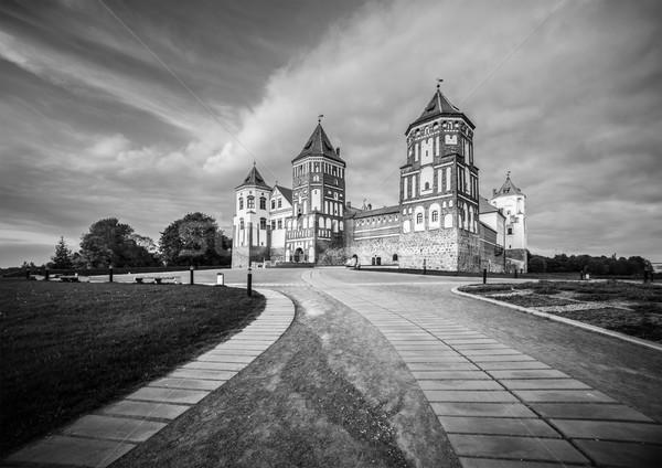 Güzel manzara kale Belarus siyah beyaz taş Stok fotoğraf © kyolshin