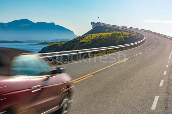 Stock photo: Car on Atlantic Road in Norway, Europe