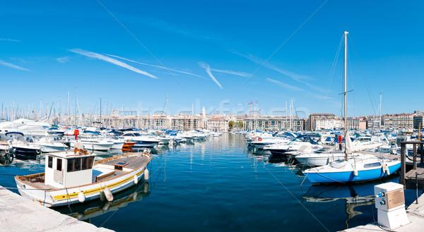 Panoráma Marseille kikötő kicsi hajók előtér Stock fotó © kyolshin