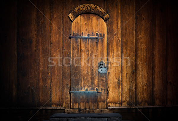 öreg fából készült ajtó templom Európa Norvégia Stock fotó © kyolshin