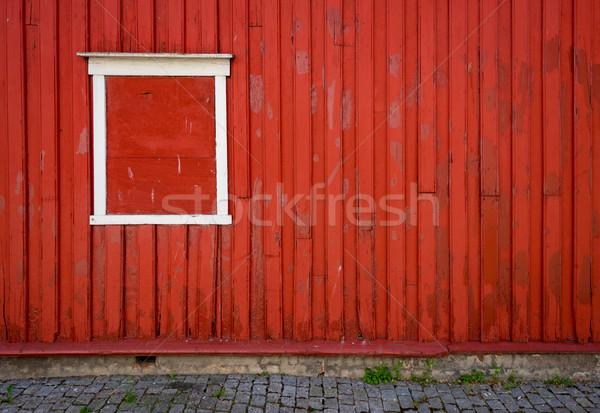 Geleneksel ev Norveç Avrupa pencere ayrıntılar Stok fotoğraf © kyolshin
