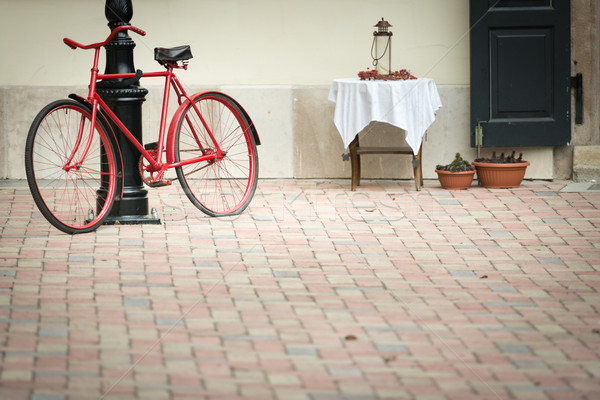 Old bicycle in stree of Budapest, Europe. Stock photo © kyolshin