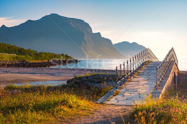 Tájkép naplemente Norvégia Európa tengerpart hegyek Stock fotó © kyolshin