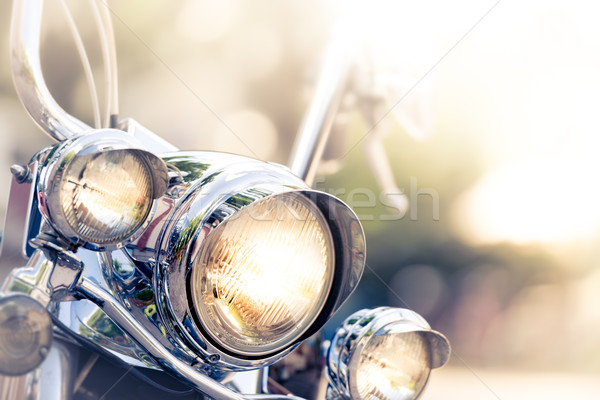 Motorcycle detail with headlamps in foreground Stock photo © kyolshin